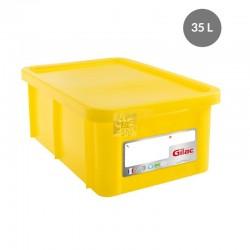 Bac HACCP 35 L rectangulaire + couvercle - jaune