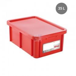 Bac HACCP 35 L rectangulaire + couvercle -rouge